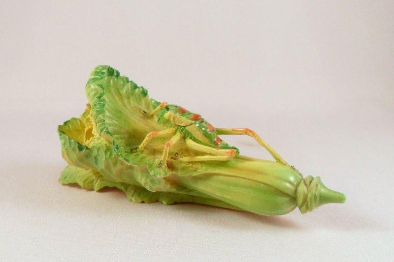 4: Chinese Ivory Polychrome Grasshopper on Plant