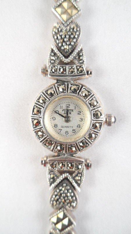 15: Judith Jack Sterling Silver Marcasite Ladies Watch - 4