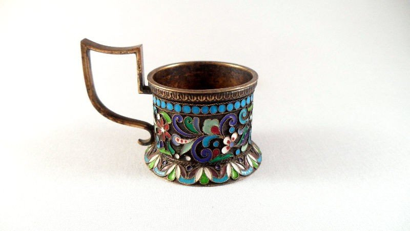 36: Russian Silver and Enamel Candle Holder