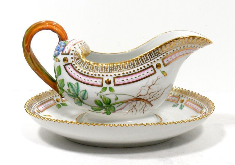 12A: Royal Copenhagen Flora Danica Sauce Boat & Plate