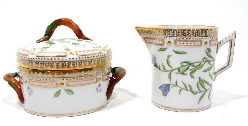 14A: Royal Copenhagen Flora Danica Creamer & Sugar Bowl