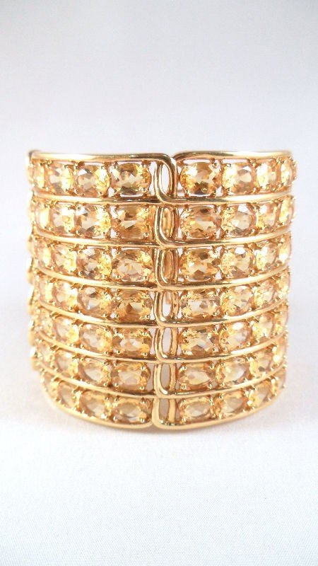 9A: 18K Yellow Gold and Citrine Cuff Bracelet