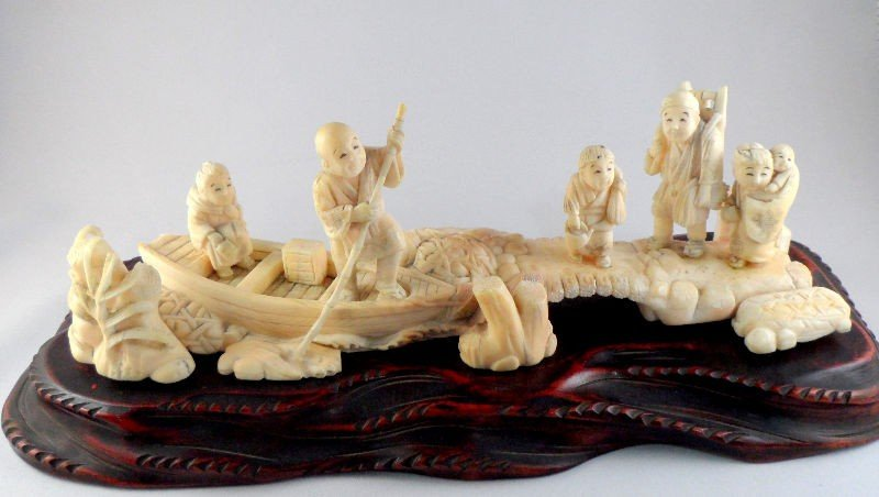605: Chinese Ivory Carved Figural Group