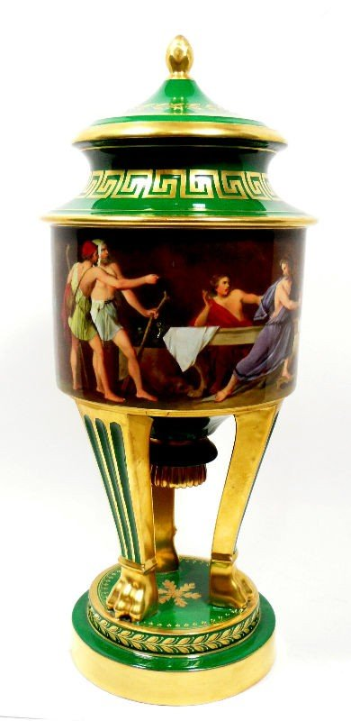 606: Dresden Porcelain Painted Urn with Lid