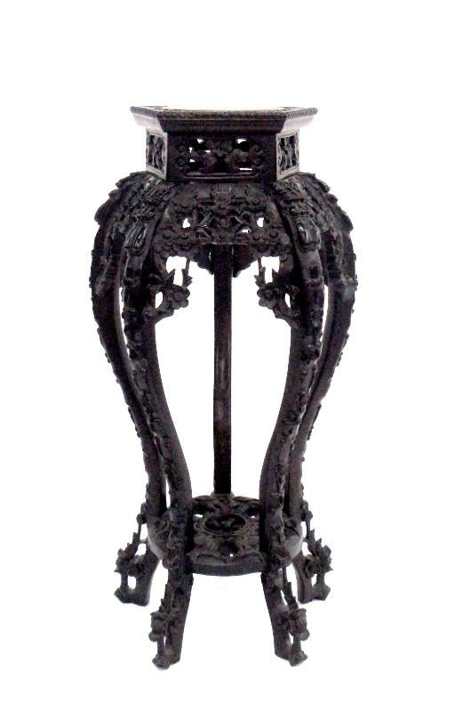 624: Chinese Wooden Pedestal with Marble Top
