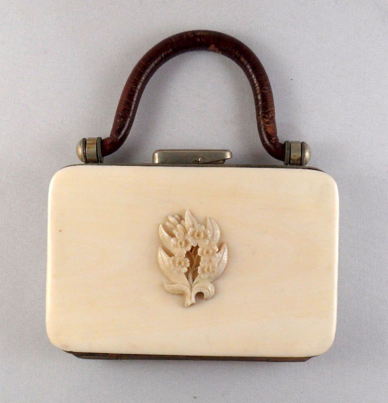 625: Antique Ivory, Leather and Metal Change Purse