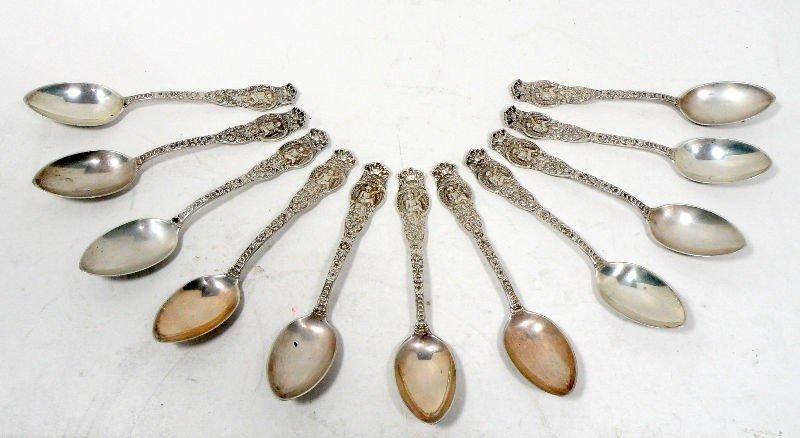 621: Wendel Sterling Silver 5 O'clock Spoons (11)