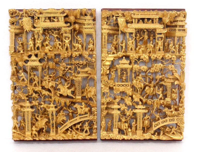 619: Chinese Carved Figural Gilt Wood Panels (2)