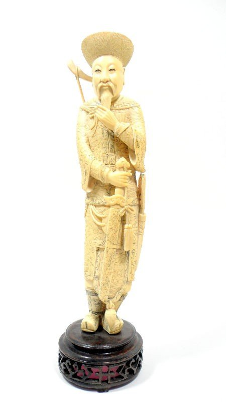 615: Chinese Ivory Carved Warrior Figurine