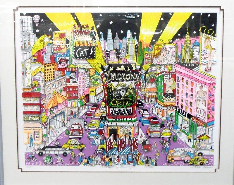 "613: Fazzino 3-D Serigraph ""Night on Broadway"""