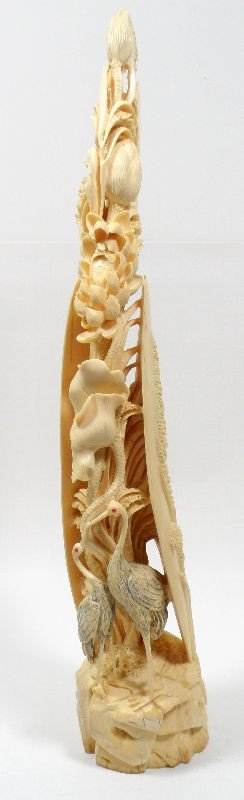 612A: Chinese Ivory Carving of a Plant with Two Birds