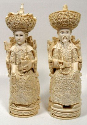 Chinese Ivory Carved Figures Of An Emperor & Empr