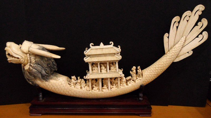 623A: Chinese Ivory Carved Dragon Boat