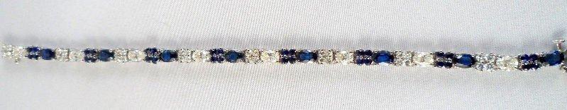 610A: 14K White Gold 8.0ct Diamond & Sapphire Bracelet