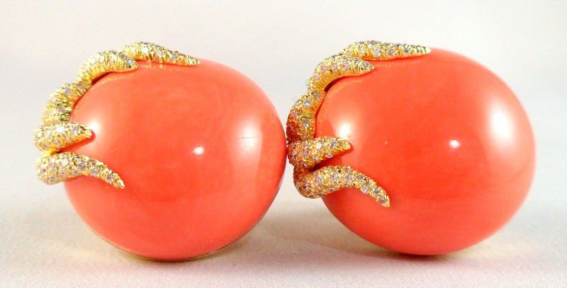 615A: 18K Yellow Gold & Coral Signed Dunay Earrings