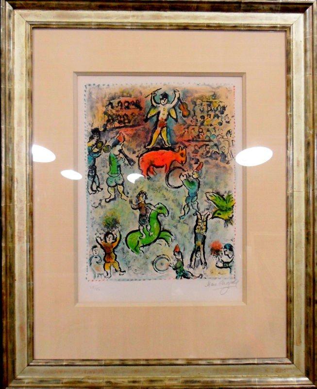 """608A: Original Marc Chagall Lithograph """" Parade au Cirq"""