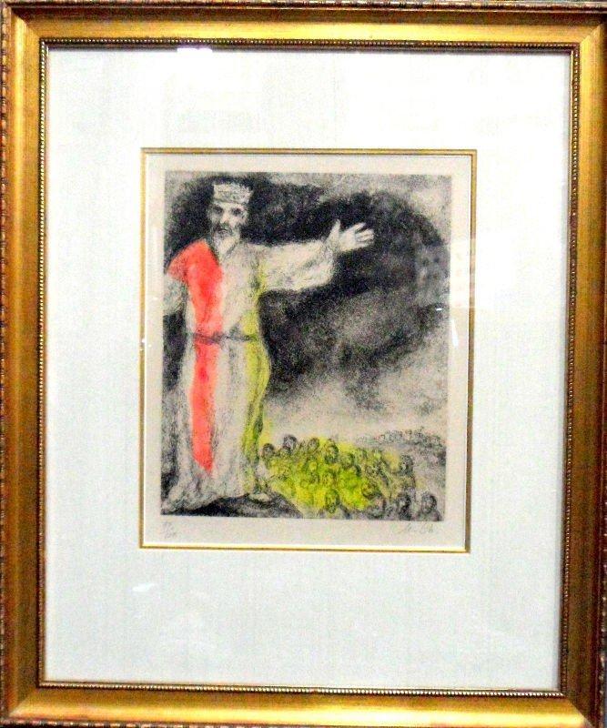"609A: Original Marc Chagall Etching "" Joshua Blocks out"