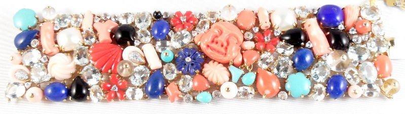 603B: 18K Coral & Precious Stone Bracelet