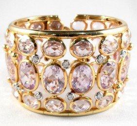 18Kt. Y.G. Kunzite Bangle Bracelet