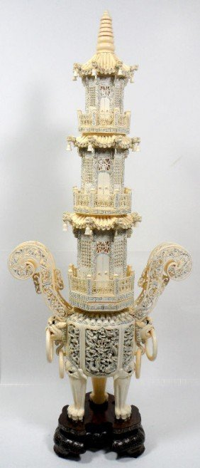 200: Chinese Ivory Carving of a Temple