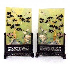 Chinese Jade, Quartz & Hardstone Plaques (2)