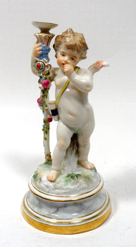 205: Meissen Porcelain Figure of Cupid With Staff