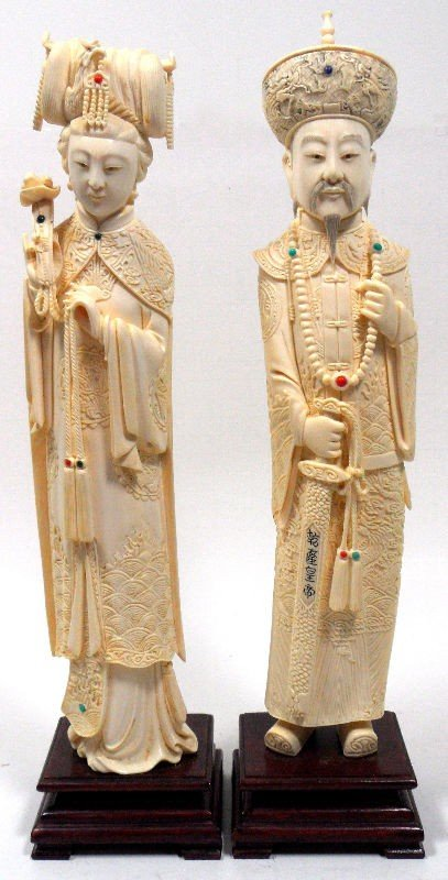 206: Chinese Ivory Figures of an Emperor & Empress