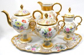 211: Limoges Porcelain Hand-Painted Tea Set