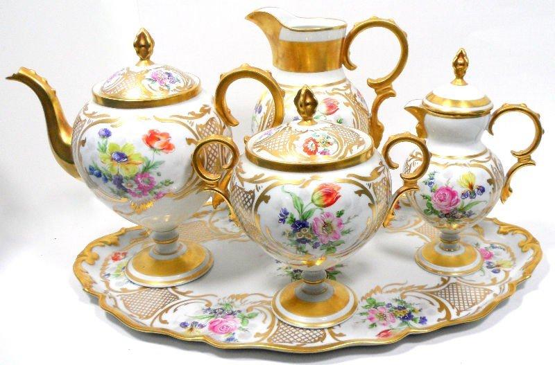 211: Limoges Porcelain Hand-Painted Tea Set
