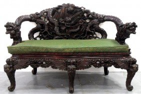 214: Chinese Carved Wood Dragon Bench