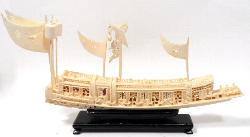 215: Chinese Ivory Carved Boat