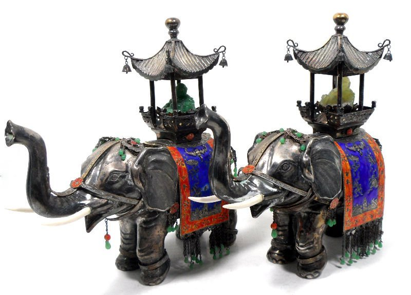 214A: Chinese Unique Silver, Jade & Enamel Elephants (2