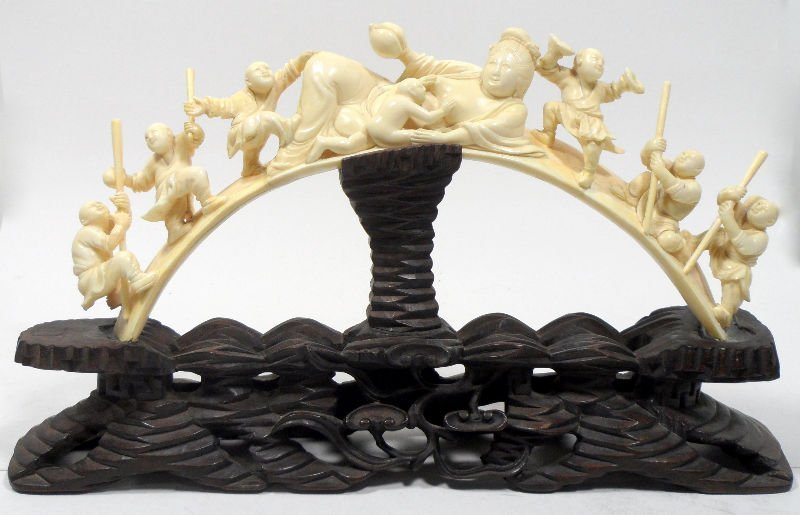 502: Chinese Ivory Carved Figural Arch