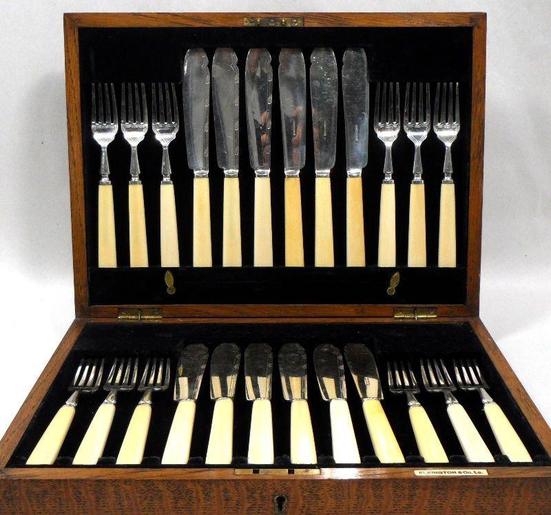 506: Antique Elkington & Co. Silver & Ivory Fish Set