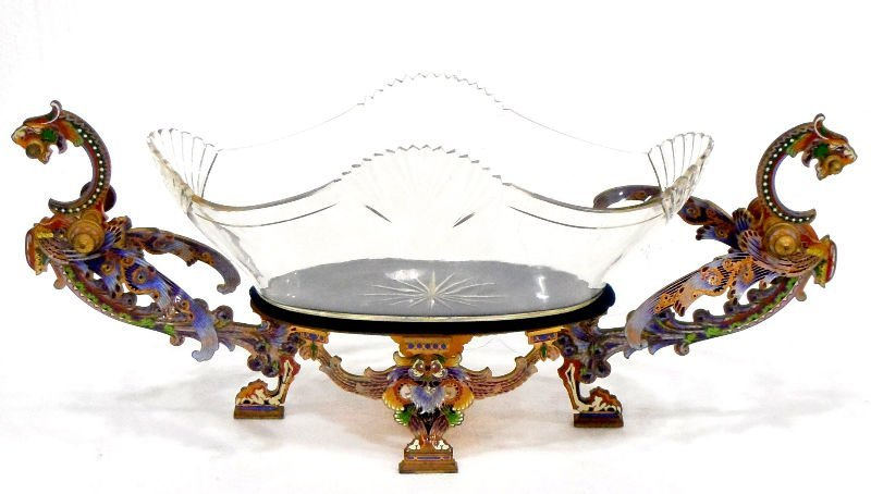 511: Antique Champleve Bronze & Glass Centerpiece