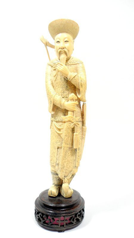 513: Chinese Carved Ivory Warrior Figurine