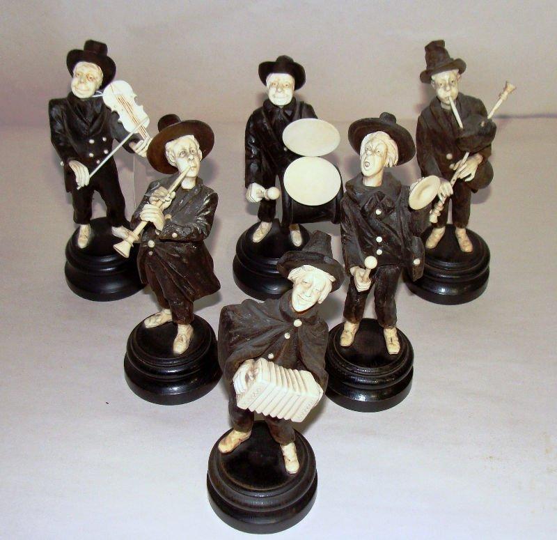 515: Carved Ivory & Wood Musician Band Set (6 piece)