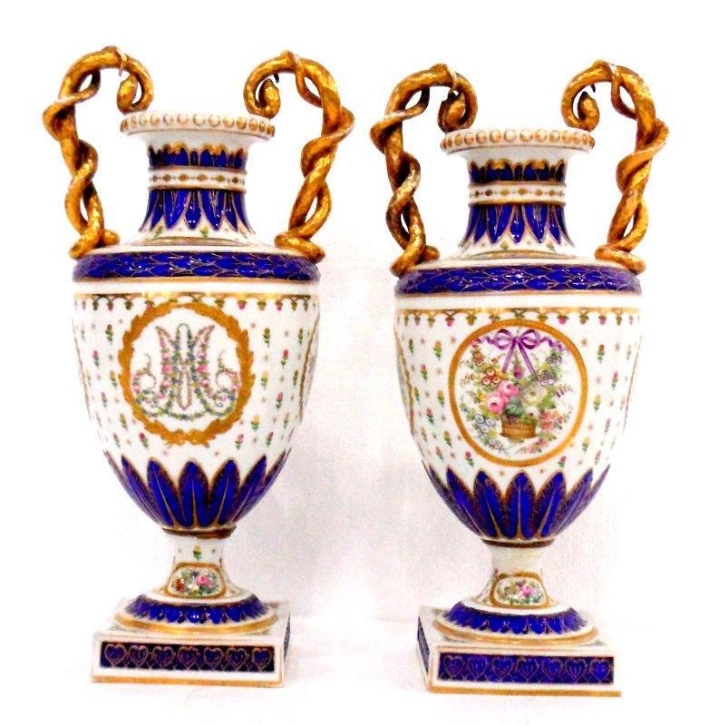 516: Sevres Porcelain Gilt Vases (2)