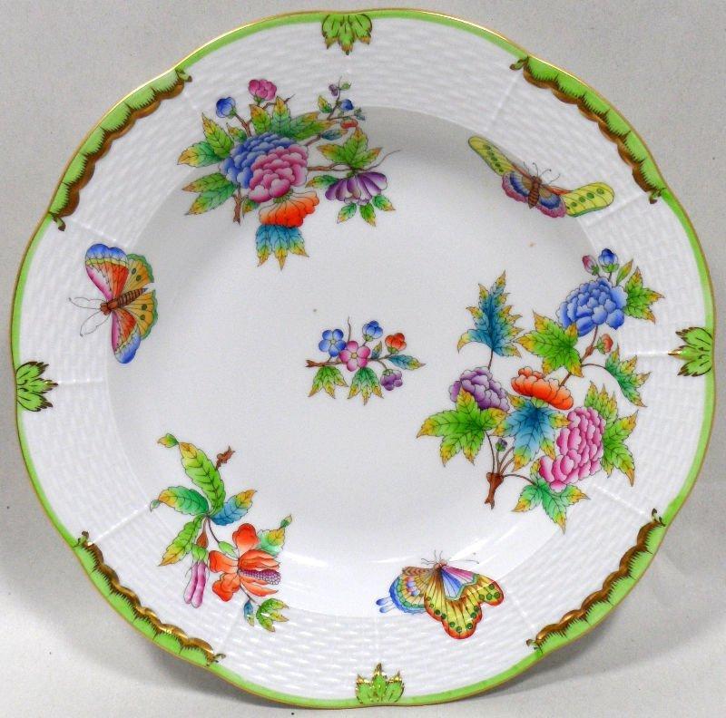 520: Herend Queen Victoria Large Rim Soup Bowls (12)