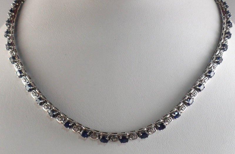 506A: 14K White Gold Diamond & Sapphire Necklace