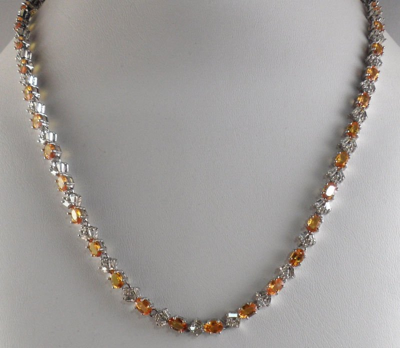 509A: 14K White Gold diamond & Yellow Sapphire Necklace