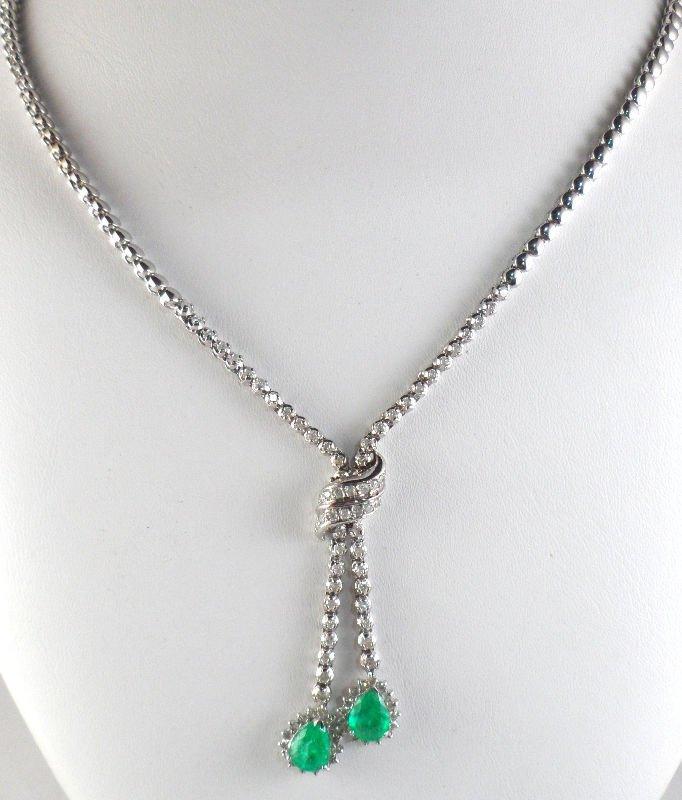 512A: 14K White Gold Diamond & Emerald Necklace