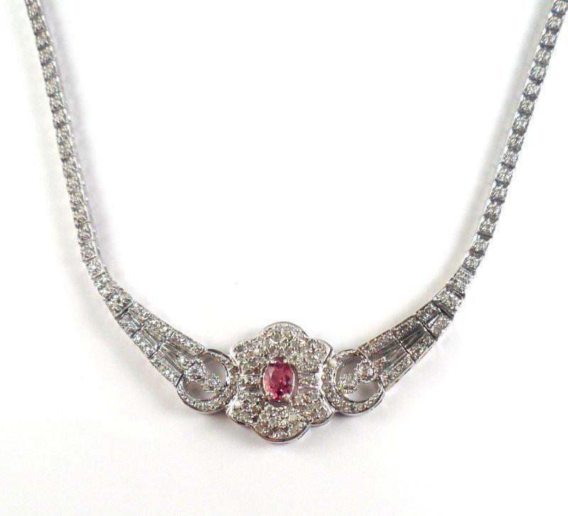515A: 14K White Gold Diamond & Pink Sapphire Necklace