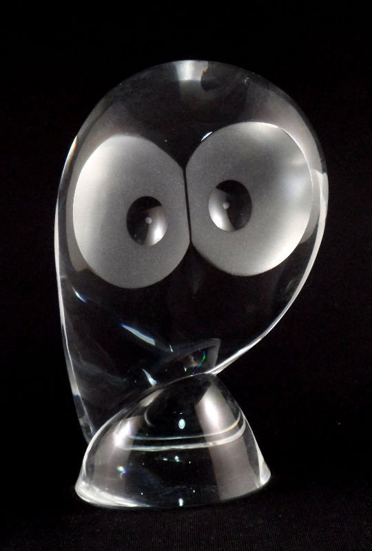 801: Steuben Crystal Owl Signed