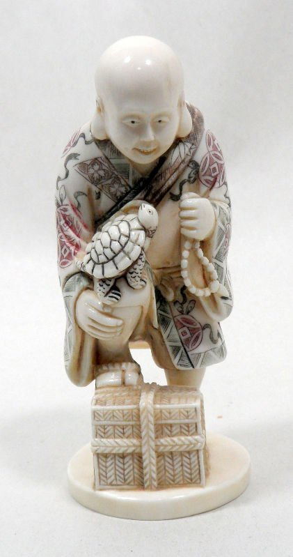 806:Chinese Polychrome Ivory Figure of a Man and Turtle