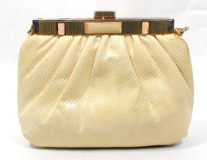 807: Judith Leiber Beige Snake Skin Handbag