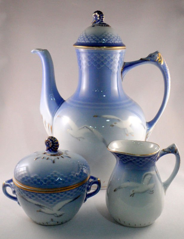 810: Royal Copenhagen Porcelain Seagull 3pc. Coffee Set