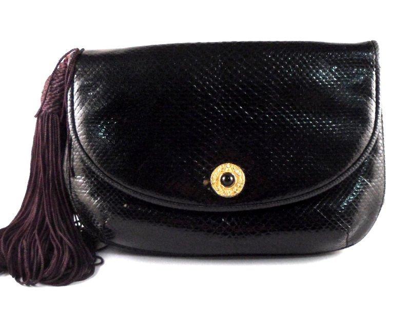 812: Judith Leiber Alligator Black Bag with Gold Chain