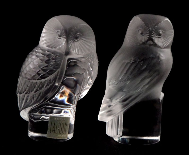 825: Lalique France Crystal Owls (Pair)