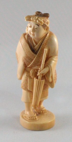 Chinese Ivory Women Carrying Baby On Back